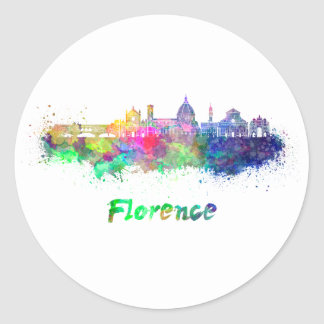 Sticker Rond Florence V2 skyline in watercolor
