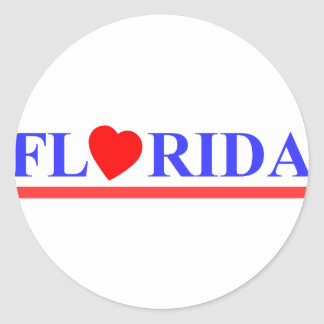 Sticker Rond Florida coeur rouge