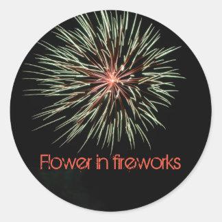 Sticker Rond Flower in fireworks