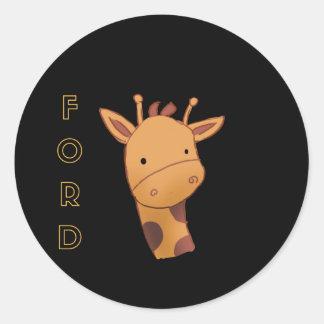 Sticker Rond Ford la girafe