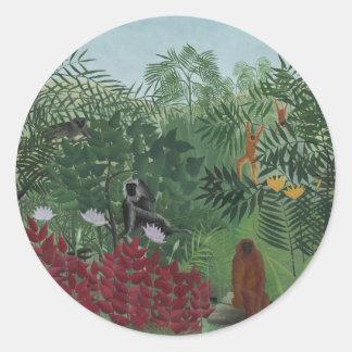 Sticker Rond Forêt tropicale de Rousseau avec des singes