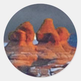 Sticker Rond formes des roches rouges