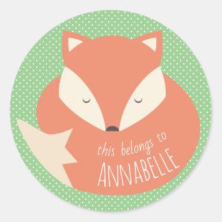 Sticker Rond Fox mignon fait sur commande de sommeil