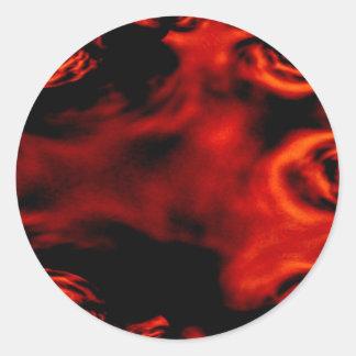 Sticker Rond Fractale du feu rouge