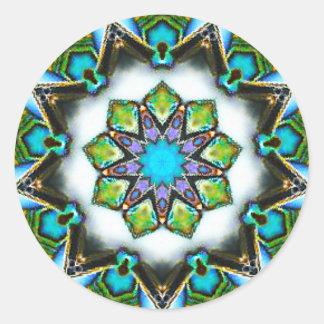 Sticker Rond Fractale étoilée magnifique de motif de Paua