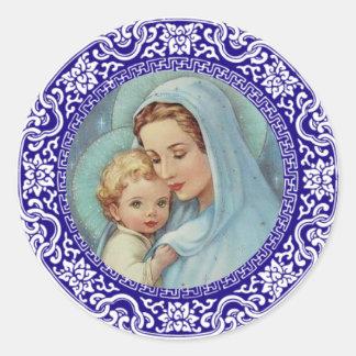 Sticker Rond Frontière bénie de bleu de Jésus de bébé de Mary