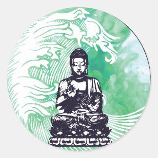 Sticker Rond Fumée d'émeraude de vague de Bouddha d'ouragan