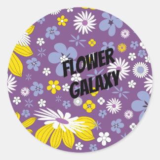 Sticker Rond Galaxie de fleur de personnaliser