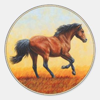 Sticker Rond Galoper de cheval de baie