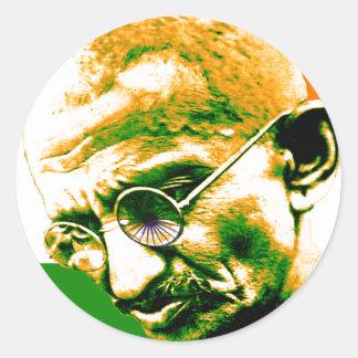 Sticker Rond Gandhi dans vert orange et le blanc avec le