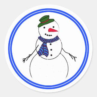 Sticker Rond Garçon Flirty de bonhomme de neige de bande