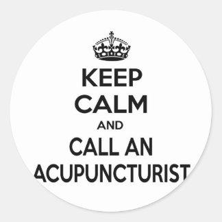Sticker Rond Gardez le calme et appelez un acupuncteur