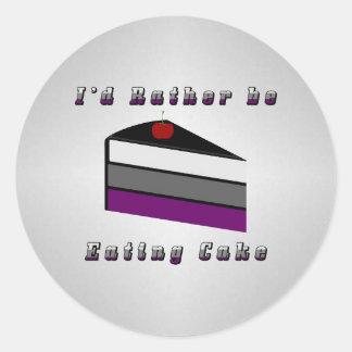 Sticker Rond Gâteau asexuel