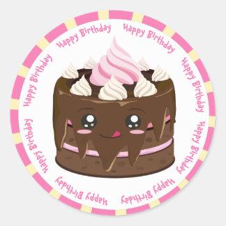 Sticker Rond Gâteau de kawaii de chocolat de joyeux