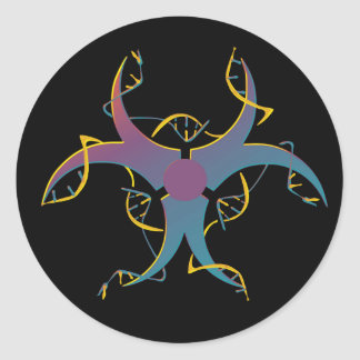 Sticker Rond Gène épissant le bio symbole de risque