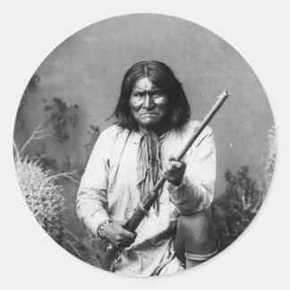 Sticker Rond Geronimo indien indigène iconique historique