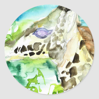 Sticker Rond GIRAFE .1 d'aquarelle