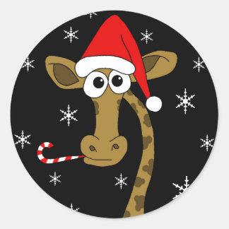 Sticker Rond Girafe de Noël