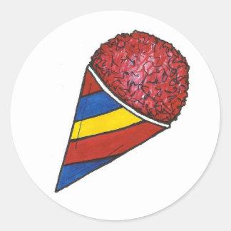 Sticker Rond Glace rasée par été rouge de Snocone de cône de