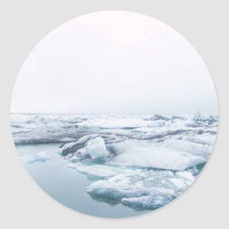 Sticker Rond Glaciers de l'Islande - blanc