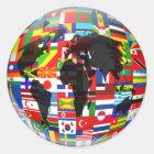 Sticker Rond Globe de drapeau