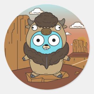 Sticker Rond Gopher de Buffalo dans le désert