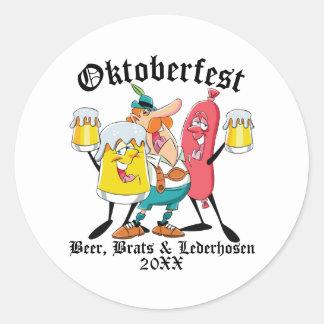 Sticker Rond Gosses et Lederhosen de bière d'Oktoberfest