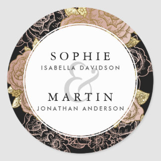 Sticker Rond Gradient d'or et mariage floral d'or rose du