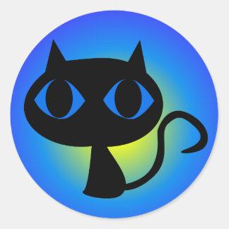 Sticker Rond Gradient noir de bleu de Kitty