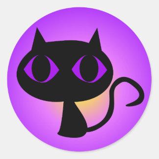 Sticker Rond Gradient noir de pourpre de Kitty