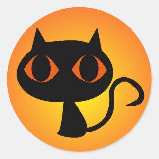 Sticker Rond Gradient noir d'orange de Kitty