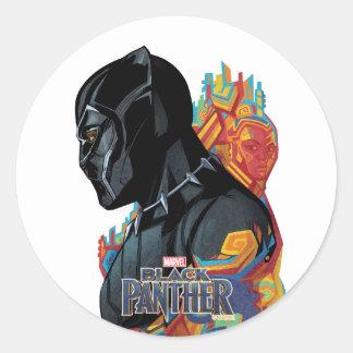 Sticker Rond Graffiti de tribal de panthère noire de la