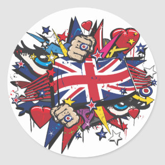 Sticker Rond Graffiti UK flag English London pop art graff
