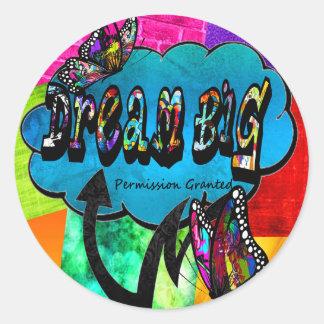 Sticker Rond Grand collage inspiré rêveur