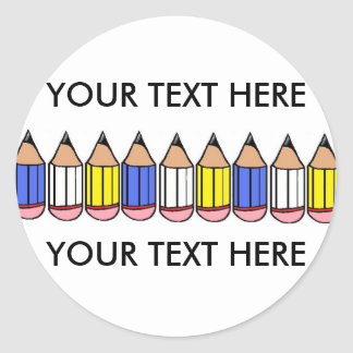 Sticker Rond Grand crayon de nouveau à l'école