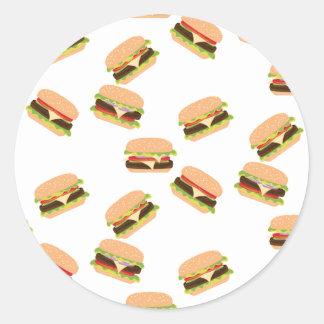 Sticker Rond Grand hamburger savoureux