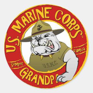 Sticker Rond Grand-papa de Corp. marine