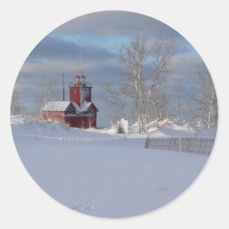 Sticker Rond Grand rouge dans l'autocollant d'hiver