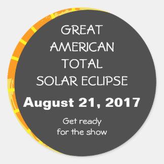 Sticker Rond Grande éclipse solaire totale américaine