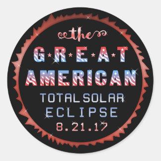 Sticker Rond Grande éclipse solaire totale américaine le 21