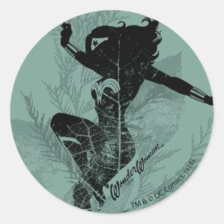 Sticker Rond Graphique de feuillage d'atterrissage de femme de
