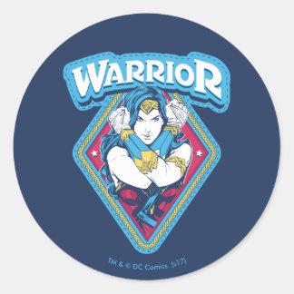 Sticker Rond Graphique de guerrière de femme de merveille