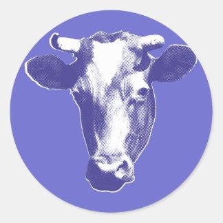 Sticker Rond Graphique pourpre de vache à art de bruit