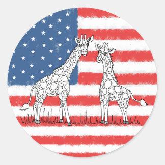 Sticker Rond Griffonnage de conservation de girafe de drapeau