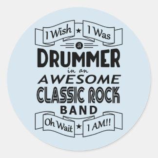 Sticker Rond Groupe de rock classique impressionnant de BATTEUR