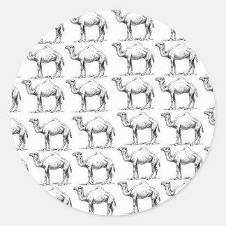 Sticker Rond groupe de troupeau de chameaux