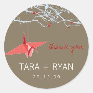 Sticker Rond Grue de papier + Merci d'arbre épousant