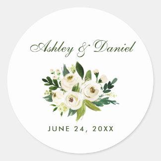 Sticker Rond GS vert d'aquarelle et blanc floral de mariage