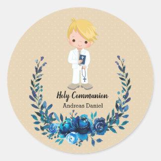 Sticker Rond Guirlande bleue de sainte communion