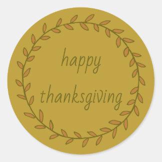 Sticker Rond Guirlande de bon thanksgiving sur l'or